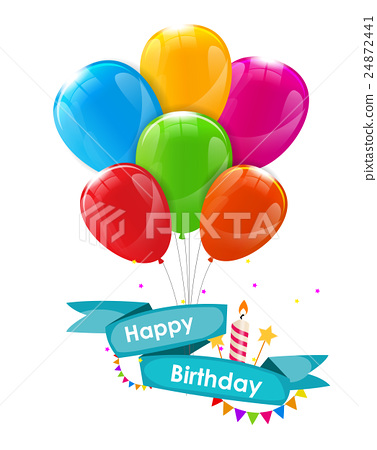 Happy Birthday Card Template with Balloons, Ribbon 24872441