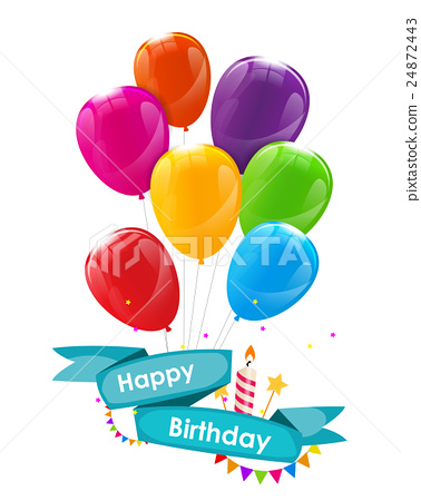 Happy Birthday Card Template with Balloons, Ribbon 24872443
