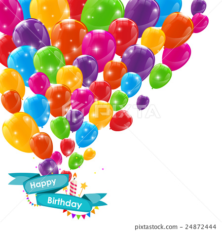 Happy Birthday Card Template with Balloons, Ribbon 24872444