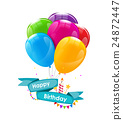 Happy Birthday Card Template with Balloons, Ribbon 24872447