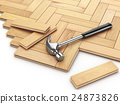 Laying hardwood parquet concept. Hammer 24873826