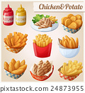 Chicken and potato. Set of cartoon vector food 24873955