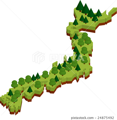 Forest Japan Map Of Japan Stock Illustration PIXTA - Japan map cartoon