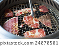 closeup of meat on a grill or barbecue 24878581