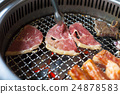 closeup of meat on a grill or barbecue 24878583