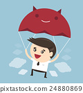Businessman is flying with parachute 24880869