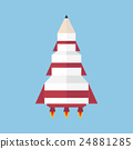 Art launch pencil rocket vector, flat design 24881285