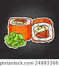 Vector sushi color sticker, California roll 24883366