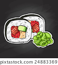 Vector sushi color sticker, Futomaki roll 24883369