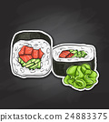Vector sushi color sticker, UnakuiMaki roll 24883375