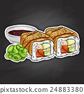 Vector sushi color sticker, Canada roll 24883380