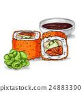 Vector sushi color sketch, California roll 24883390