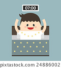 Businessman wake up early, vector, flat design 24886002