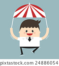 Businessman flyimg with parachute in the sky 24886054
