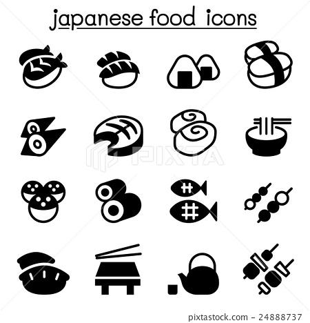 Basic Japanese food icons set 24888737