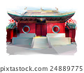 Chinese Temple. Watercolor Illustration 24889775