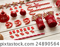 Christmas homemade decoration flat lay 24890564