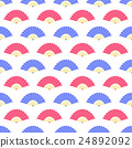 Red Blue Fan Seamless Pattern 24892092