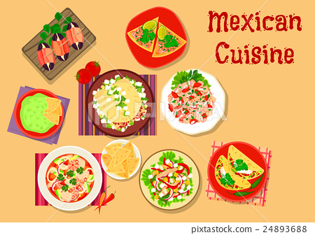 Mexican cuisine spicy snack and salad icon 24893688