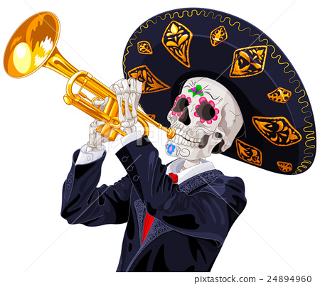 Day of the Dead Trumpet Player 24894960