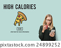 Pizza Icon Fast food Unhealthy Snacks Calories Fat Concept 24899252