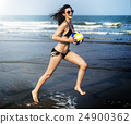 Women Friendship Playing Volleyball Beach Summer Concept 24900362