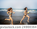 Women Friendship Playing Volleyball Beach Summer Concept 24900364