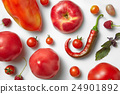 Red chili pepper and tomato . 24901892