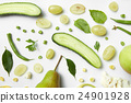 Fresh green vegetables and fruits on white 24901928