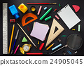 school supplies on black wood 24905045