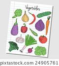 Vegetables doodles - lined paper 24905761