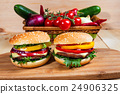 homemade hamburger with fresh vegetables, close up 24906325