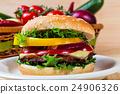 homemade hamburger with fresh vegetables, close up 24906326