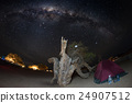 Camping under starry sky and Milky Way arc 24907512