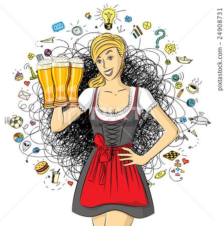 Vector Cute Woman In Drindl On Oktoberfest 24908731