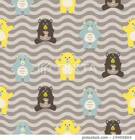 Cartoon fun bears seamless brown zigzag pattern. 24909804