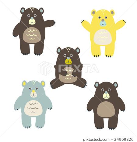 Set of fun cartoon vector bears for kids. 24909826