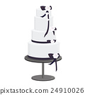 Black and White Ribbon Tower Cake 24910026