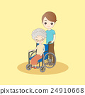 old woman sit on wheelchair 24910668