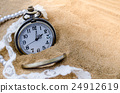 Vintage pocket watch with perfume on sand 24912619