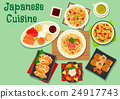 Japanese cuisine dishes icon for menu design 24917743