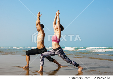 Yoga Exercise Active Beach Outdoor Concept 24925218