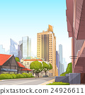 City Street Skyscraper View Sketch Cityscape 24926611