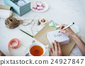 Writing Message On Present Package Decorations Concept 24927847