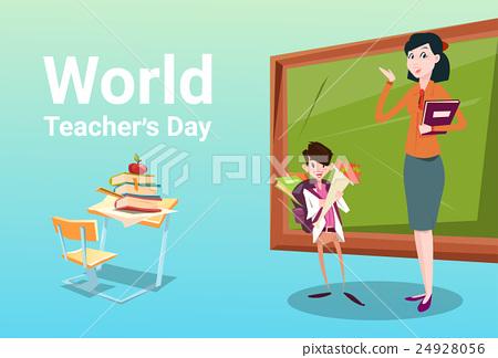 Teacher Day Schoolboy Group Hold Flowers Present 24928056