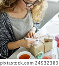 Female Writing Thankyou Card Present Concept 24932383
