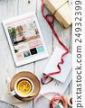 Tablet Online Shopping Tea Present Concept 24932399