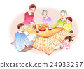 난로에서 단란한 가족 배경 수 24933257