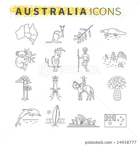 Set of thin line icons . Australian travel theme 24938777