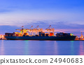Cargo ship port at twilight scene. 24940683